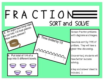 Fraction Operations: SORT and SOLVE  - Fifth Grade Test Review