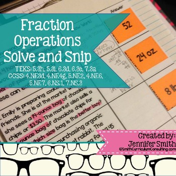 Fraction Operations Word Problems Solve and Snip- Common C