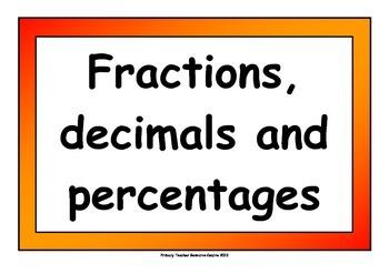 Fraction, Percentage and Decimal Display Pack