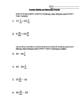 Fraction Practice Worksheet