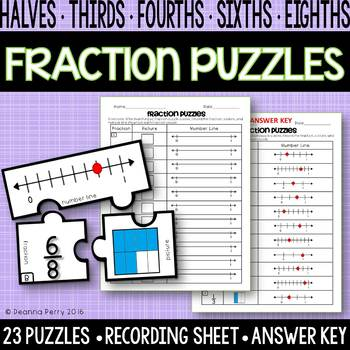 Fraction Puzzles {Part of a Whole / Fractions on a Number Line}
