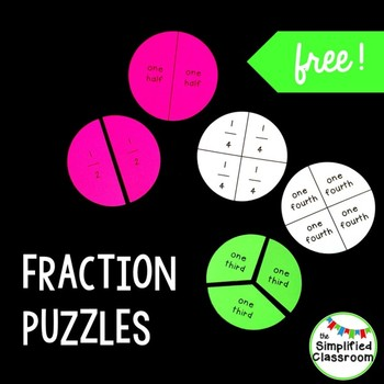 Fraction Puzzles for First Grade {FREEBIE!}