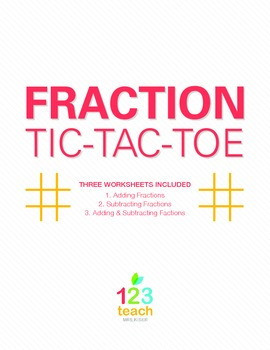 Adding and Subtracting Fractions Review Activity - Partner