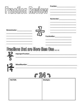 Fraction Review or Introduction Fill in the Blank Sheet &