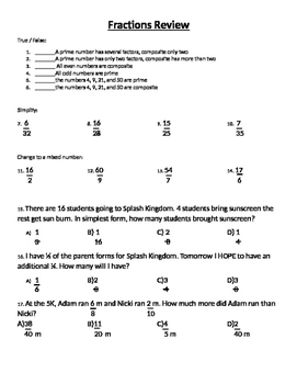 Fraction Review quiz all operations