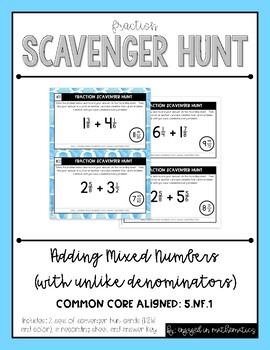 Fraction Scavenger Hunt Set 2: Adding Mixed Numbers with U