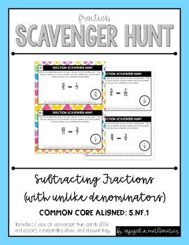 Fraction Scavenger Hunt Set 3: Subtracting Fractions with