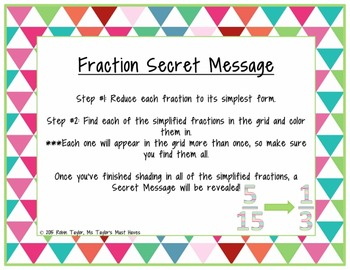 Fraction Secret Message (Reducing Fractions to Simplest Form)