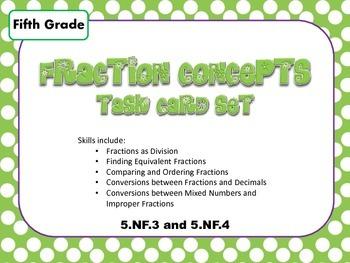 Fraction Skills Task Card Set