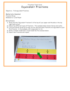 Fraction Strips Equivalent Fractions Task Card - Math Center