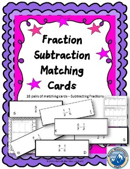 Fraction Subtraction Matching Card Set