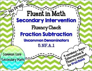 Fraction Subtraction Uncommon Denominators : RTI Intervent