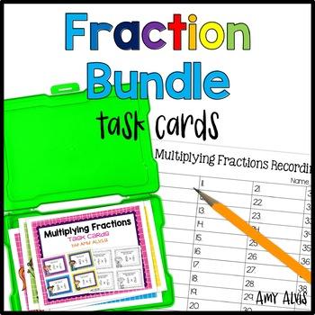 Fraction Task Cards - Bundle - Add Subtract Multiply Divide
