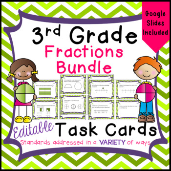 3rd Grade Fractions - Task Card Bundle for Math Common Cor