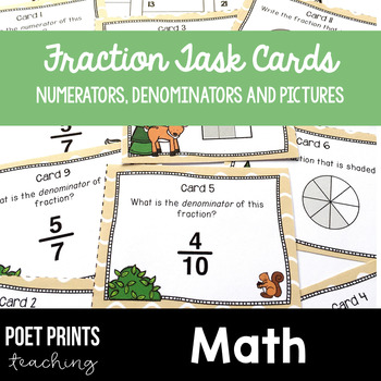 Fraction Task Cards Math Center Activity