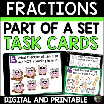 Fraction Task Cards-24 cards (Fractions-Parts of a Set)