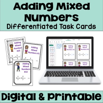 Adding Mixed Numbers Task Cards (3 Levels)