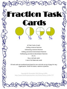Fraction Task Cards Common and Uncommon Addition Subtracti