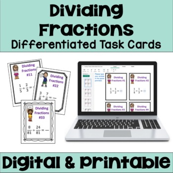 Dividing Fractions Task Cards (3 Levels)