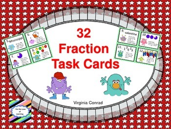 Fraction Task Cards--Monster Theme