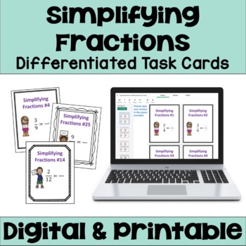 Reducing Fractions to Lowest Terms Task Cards (3 Levels)
