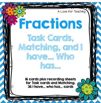 Fraction Task Cards and Fraction Parts of a Set Matching