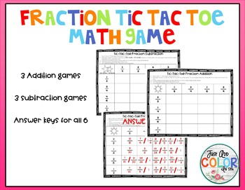 Fraction Tic-Tac-Toe Adding & Subtracting Fractions with U