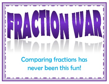 Fraction War - Comparing Fractions Center Game (Common Cor