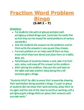 Fraction Word Problem Bingo