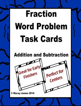 Fraction Word Problem Task Cards - Addition and Subtraction