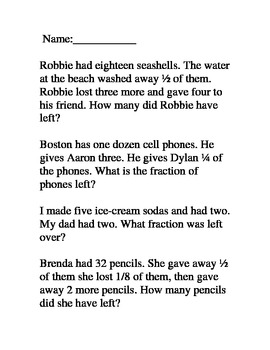 Fraction Word Problems Common Core