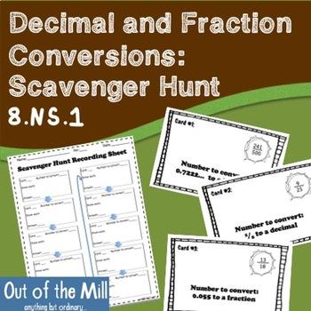 Fraction and Decimal Conversions: Scavenger Hunt (8.NS.1)