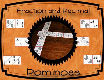 Fraction and Decimal Dominoes: Whole, Half, Thirds, Fourth