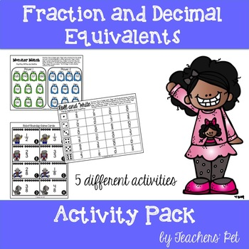 Fraction and Decimal Equivalents: Activity Pack