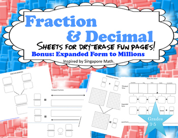Fraction and Decimal Fun Page Sheets    Inspired by Singap