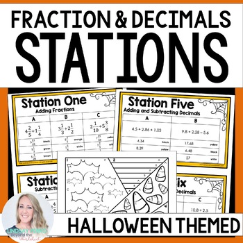 Fraction and Decimal Operations - Editable Halloween Stations