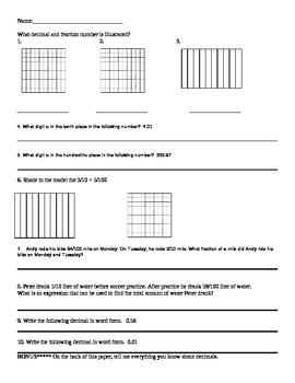 Fraction and Decimal Quiz