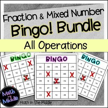 Fraction and Mixed Number Math Bingo Math Review Games Bun