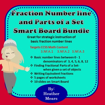 Fraction number line and parts of a set Bundle smartboard