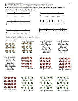 Fraction number line and parts of a set  free sample