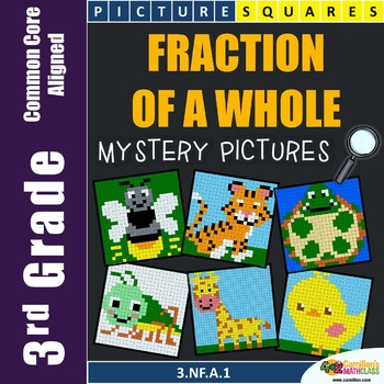 3rd Grade Fraction of a Whole Mystery Pictures Coloring Wo
