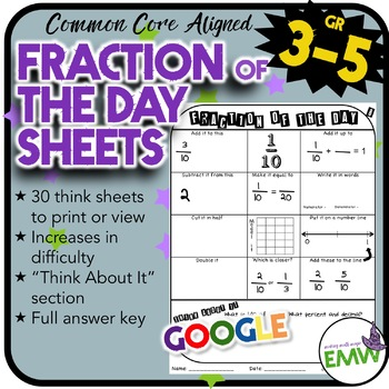 Fraction of the Day Worksheets for adding, subtracting, co