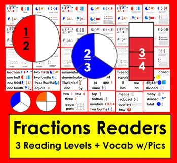Fractions Readers for K/1 - 3 Reading Levels + Illustrated