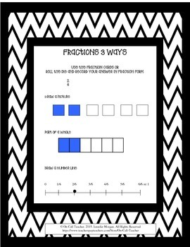 Fractions 3 ways: Parts of a whole, on a number line and p