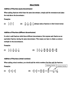 Fractions: A review of the four rules