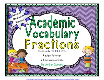 Fractions Academic Vocabulary Workbook and Assessments for