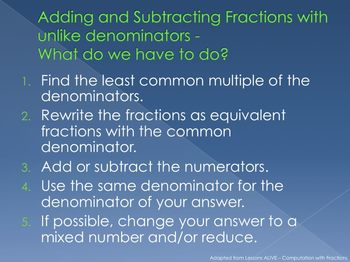 Fractions - Adding and Subtracting - PowerPoint