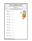 Fractions Addition Review Worksheet