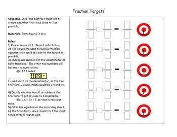 Fractions Addition and Subtraction Game