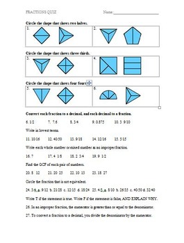Fractions Assessment (Quiz)